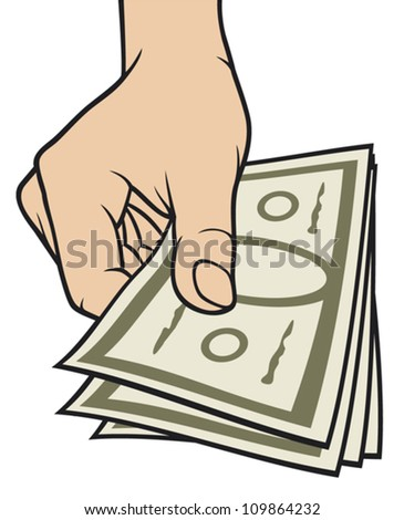 hand giving money (hand with money, hand holding banknotes, money in the hand)