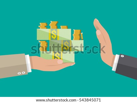 hand giving money to other hand. anti Corruption concept. vector illustration in flat style Foto stock ©
