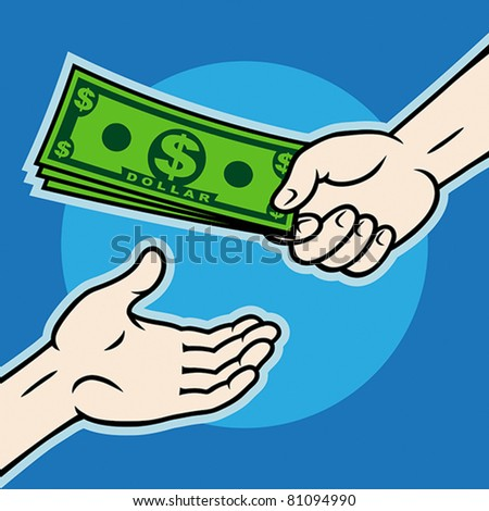 Hand, giving money to other hand, EPS 8, CMYK.