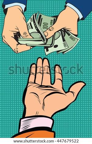 hand giving money to other hand pop art retro vector