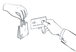 Hand giving shopping paper and taking credit card. Monochrome sketch outline of seller and buyer. Market and paying for products bought in shop or store. Retail business vector in flat style
