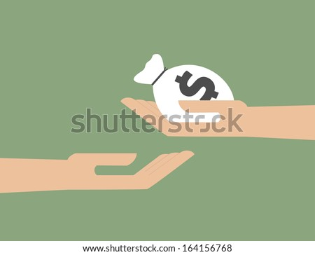 Hand giving the money to hand