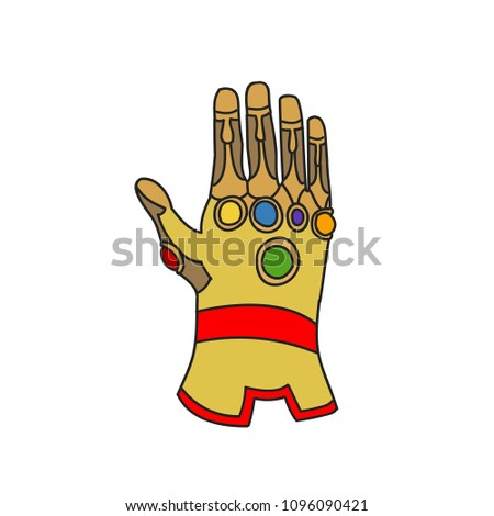 hand glove with cosmic gems for