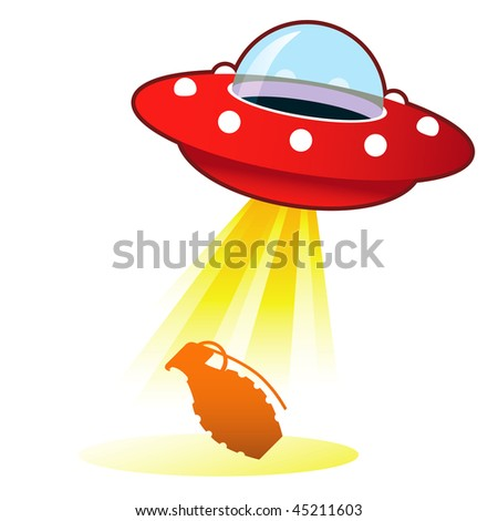 Hand grenade icon on retro flying saucer UFO with light beam.  Suitable for use on the web, in print, and on promotional materials.