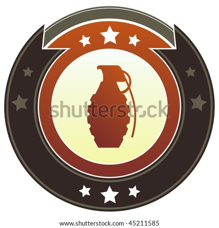 Hand grenade icon on round red and brown imperial vector button with star accents suitable for use on website, in print and promotional materials, and for advertising.