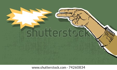 hand gun shooting, flash and copy space, grunge background