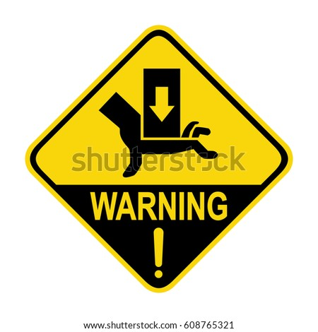 Hand hazard sign. Danger sign hand hazard turn off power.  Illustration