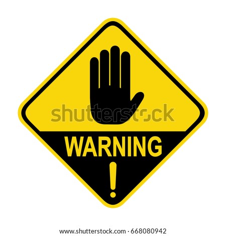Hand hazard sign. symbol, illustration
