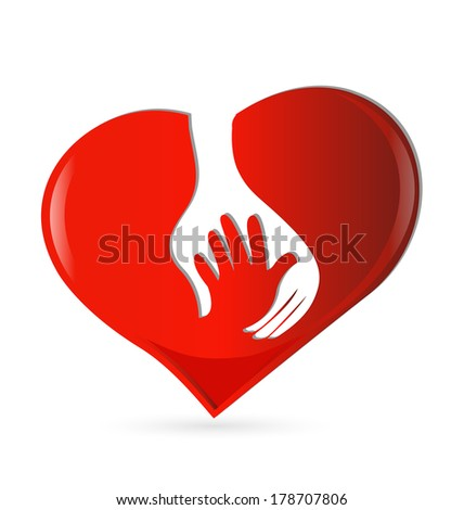 Hand heart symbol of protection icon vector