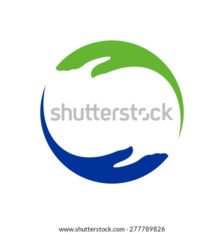 Hand help care logo template