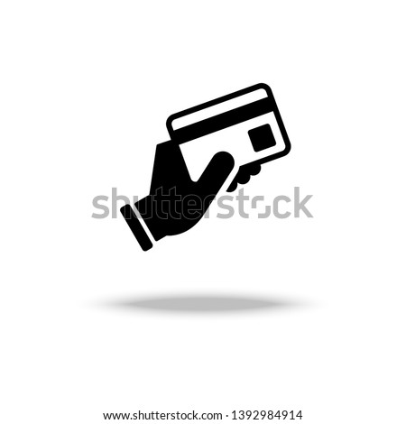 Hand hold a credit card icon vector illustration. Foto stock ©