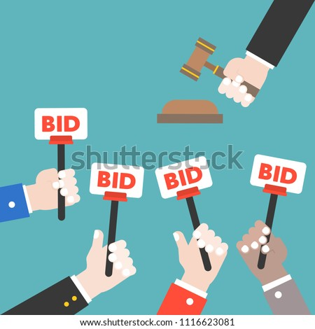 Hand hold bid sign and judge hammer, Auction bidding concept, flat design