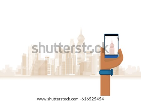 Hand Hold Cell Smart Phone Taking Photo Of Modern City Flat Vector Illustration