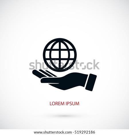 hand hold globe   vector icon