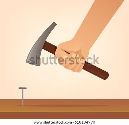 Hand hold hammer and hits nail. Construction concept. Vector flat cartoon illustration