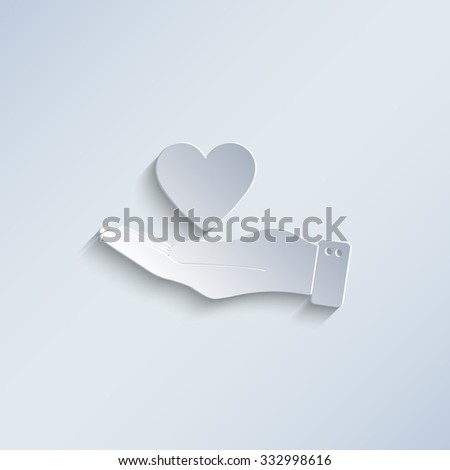 hand hold heart - paper vector icon