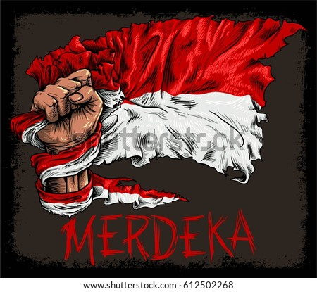 stock vector hand hold indonesian old flag and merdeka typography merdeka means independent 612502268