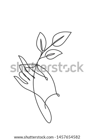 hand hold leaves line drawing