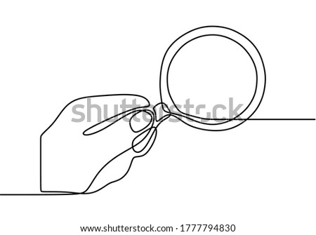 Hand hold magnifier drawn by one line. Single line drawing. Continuous line with minimalist design isolated in one white background. Сток-фото ©