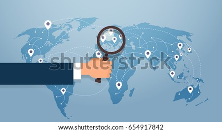 Free vector world map with pins download free vector art stock hand hold magnifying glass over world map searching place for vacation gps pin vector illustration gumiabroncs Images