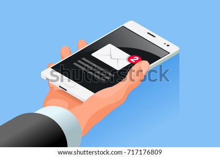 Hand hold mobile cell phone isometric icon vector 3D flat design