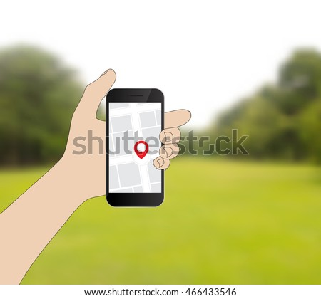 hand hold mobile phone flat