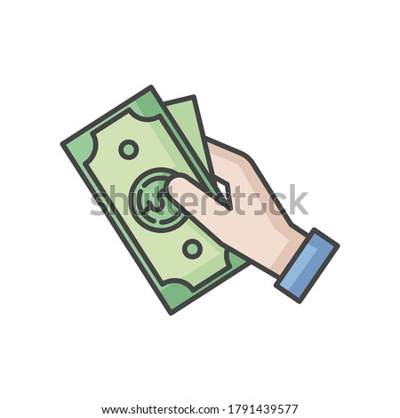 Hand hold money RGB color icon. Cash for client. Business revenue. Employee salary. Bank benefit. Charge cash. Handout dollar. Arm with payout. Corruption and bribery. Isolated vector illustration Stock photo ©