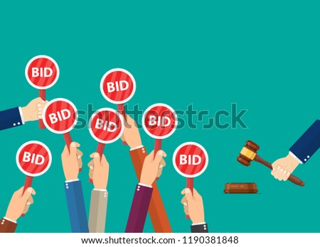 Hand hold paddle with BID. Auction meeting. Business bidding process concept.Template for open trade. Many offers good prices.