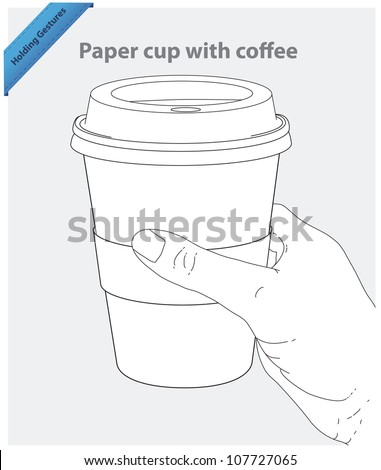 Hand hold paper cup with coffee