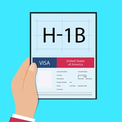 Hand hold passport with Visa H1B temporary work for workers illustration. H1b Visa USA page for the Class R. Vector 10 eps