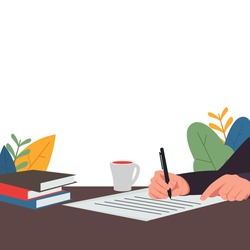 Hand hold pen and write on table. There is cup of coffee and books on table. Has meaning of write diary, journey and agenda. Business flat vector concept illustration.