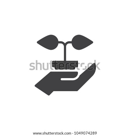 Hand hold plant in pot vector icon. filled flat sign for mobile concept and web design. care plant growth simple solid icon. Symbol, logo illustration. Pixel perfect vector graphics