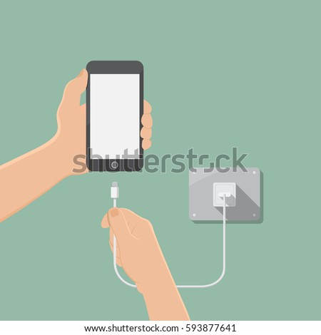 hand hold smartphone and charge