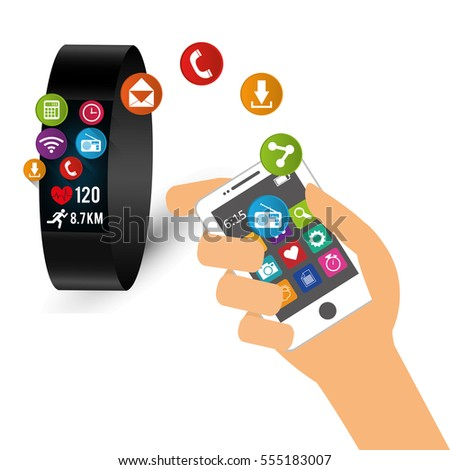 hand hold smartphone smart watch sharing tech device vector illustration eps 10