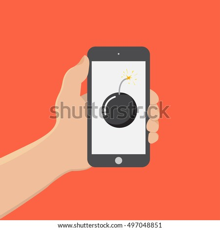hand hold smartphone with bomb