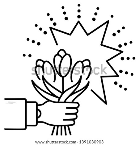 Hand holding a bouquet of flowers in outline style on white background #1391030903