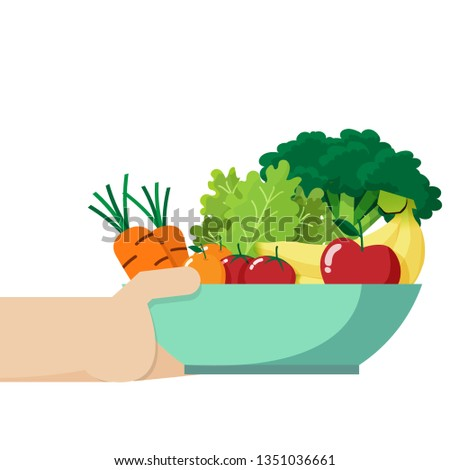 hand holding a bowl be full of fresh vegetable and fruit inside , isolated on white background with copy space #1351036661