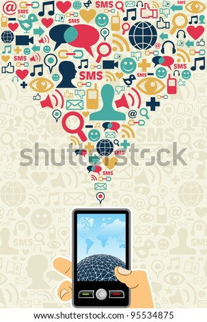 Hand holding a cell phone under social media icons on light background Vector file available.