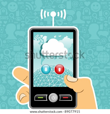 Hand holding a cell phone with cloud of communication on blue background with social media icons. Vector file available.