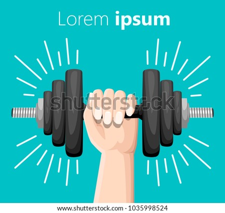 Hand holding a dumbbell. Bent dumbbells isolated on turquoise. Sport equipment, weight lifting, exercise, strength and gym concept. Flat style. Vector illustration