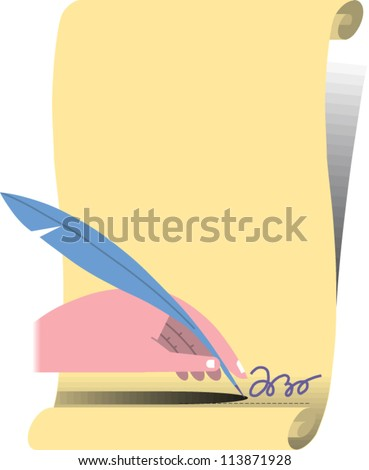 Hand holding a feather quill pen writes signature on a scroll of parchment