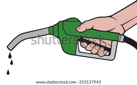 hand holding a fuel pump  man
