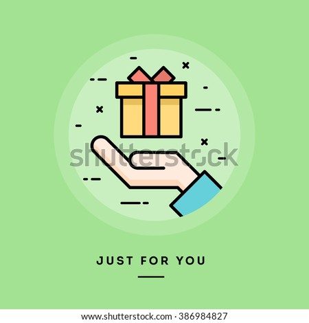 Hand holding a gift box, flat design thin line banner, usage for e-mail newsletters, web banners, headers, blog posts, print and more