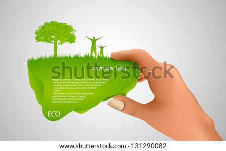 hand holding a green bubble for text