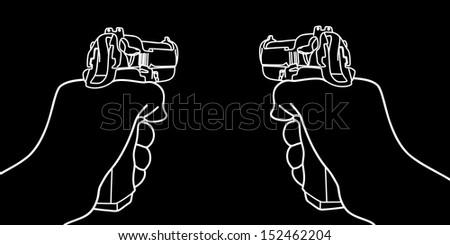 hand holding a handgun vector