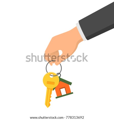 Hand holding a key and a fob. Concept of buying or renting a new house or apartment. Vector illustration in flat style