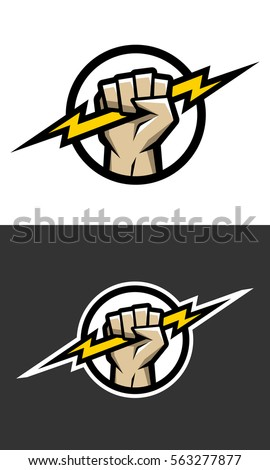 Hand holding a lighting Bolt. Symbol, logo.