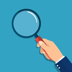 hand holding a magnifying glass. vector illustration in flat design on blue background