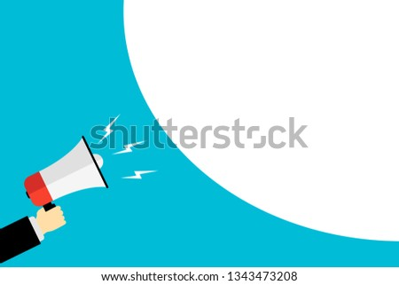 hand holding a megaphone icon for market announcement flat