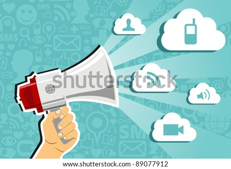 Hand holding a megaphone throwing clouds of communication on blue background with social media icons.  Vector file available.